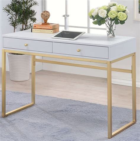 Acme 92312 Coleen White Finish Wood And Brass Frame Desk .