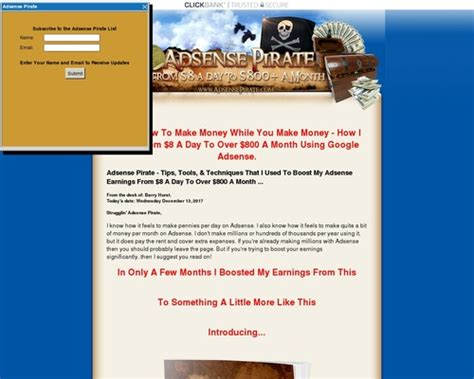 @ Adsense Pirate - From 8 A Day To 800 A Month.