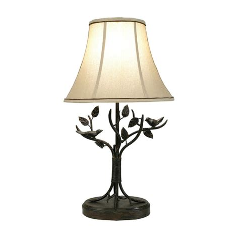 Aged Bronze Iron Bird And Leaf Table Lamp - Lamps By