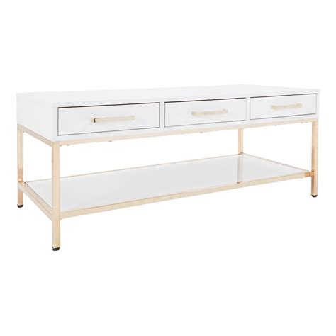 Alios Cocktail Table With White Gloss Finish And Gold .