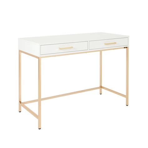 Alios Desk With White Gloss Finish And Gold Chrome Plated .