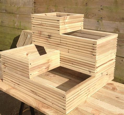Amazon Co Uk Large Wooden Planters Garden  Outdoors.