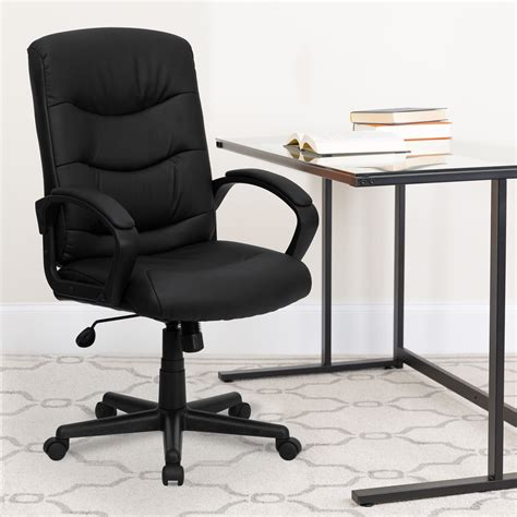 Amazon Com Flash Furniture Mid-Back Black Leather .