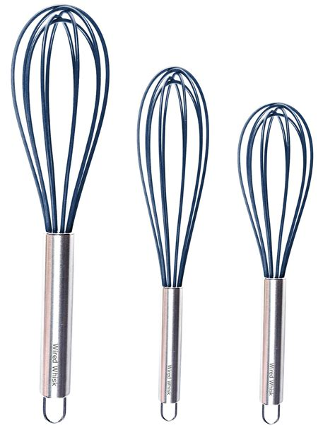 Amazon Com Silicone Whisk Set Of 3 - Stainless Steel .