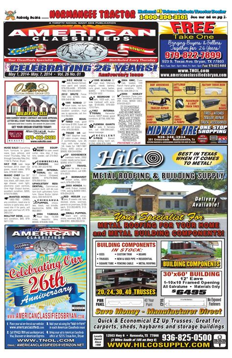 American Classifieds - Thrifty Nickel Want Ads Of Bryan 5 .