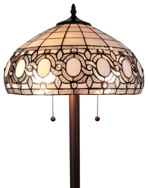Amora Lighting Am232fl16 Tiffany Style Floral White Floor .