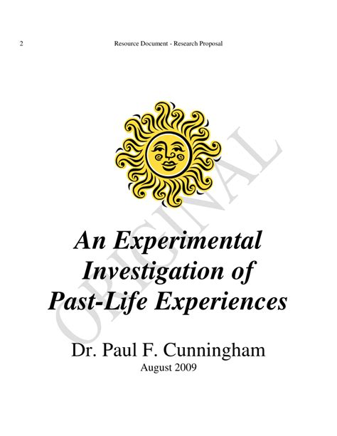 [pdf] An Experimental Investigation Of Past-Life Experiences.