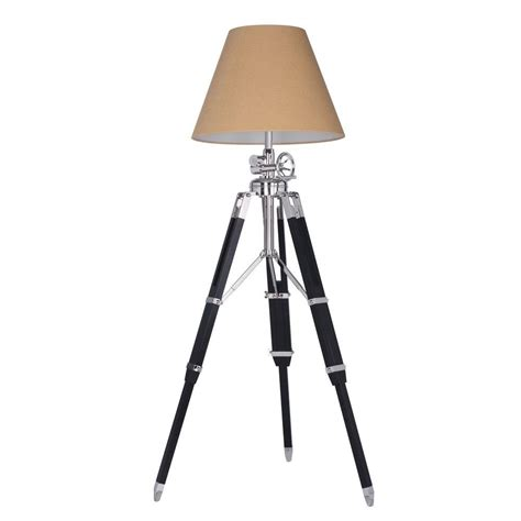 Ansel Tripod 15 5 In Chrome And Black Floor Lamp.