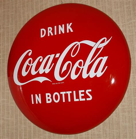 Antique 1950s Drink Coca-Cola In Bottles Button 36 Inch .