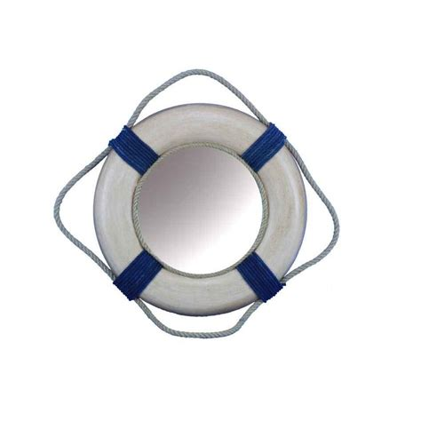 Antique Blue And White Decorative Lifering Mirror 15 .