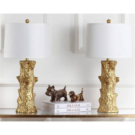 Arcadia Faux Bois 28 5 In Gold Table Lamp With Off-White .