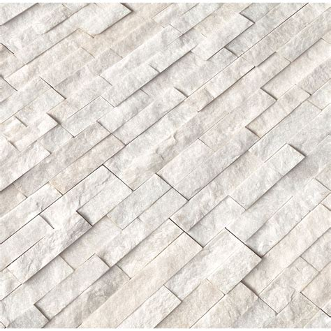 Arctic White 6x24 Ledger Panel Split Face - Wall And Tile.
