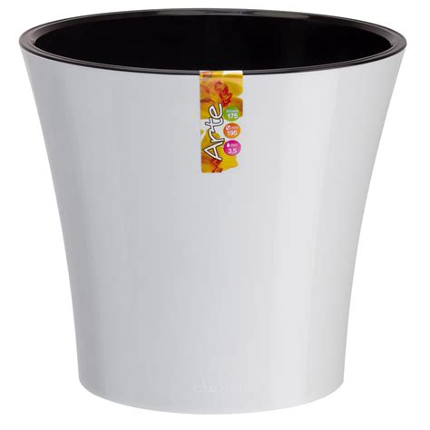 Arte 7 7 In White Purple Plastic Self Watering Planter.