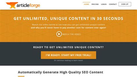 Article Forge - The Smartest Automatic Article Writer Ever.