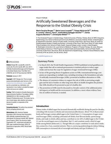 Artificially Sweetened Beverages And The Response To The Global.