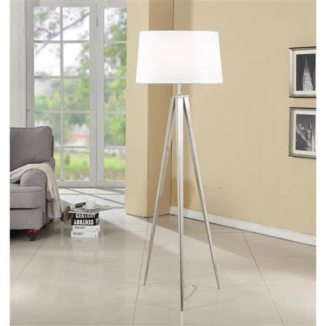 Artiva Hollywood 63-Inch Brushed Nickel Tripod Floor Lamp .