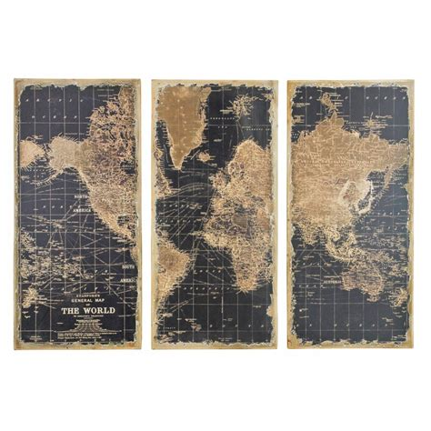 Aspire Stanford World Map Wall Decor Set Of 3  Black Brown.