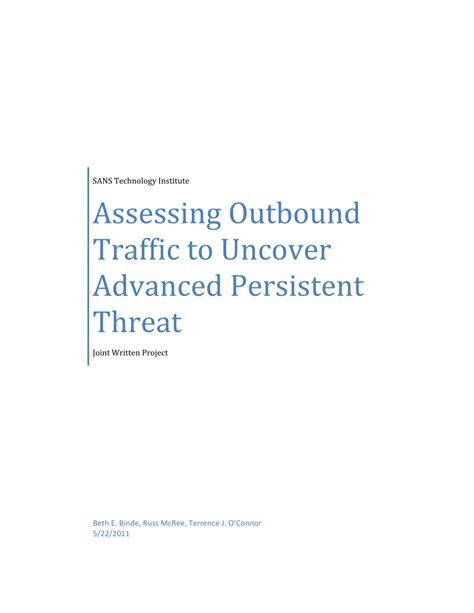 [pdf] Assessing Outbound Traffic To Uncover Advanced Persistent .