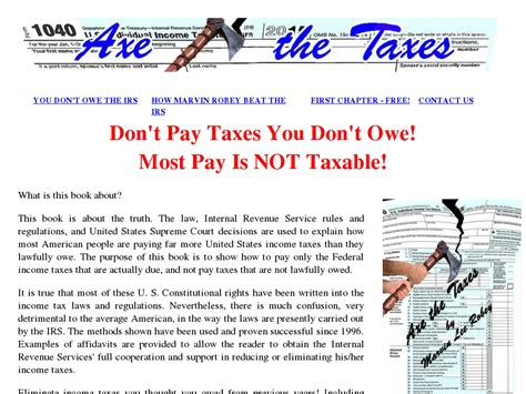 @ Axe The Taxes Ebook Shows How To Eliminate Most Income Taxes.