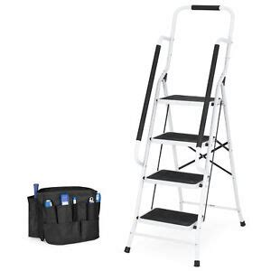 Bcp 4-Step Portable Folding Ladder W Handrails Tool Bag .