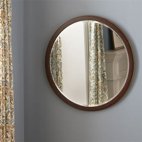 Big Deal On Beveled Wooden Accent Mirror Brown With Bronze.