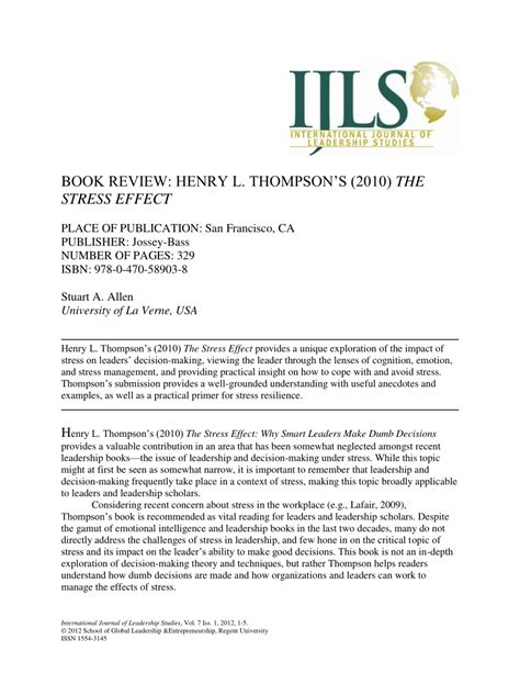 [pdf] Book Review Henry L Thompson  S 2010 The Stress Effect.