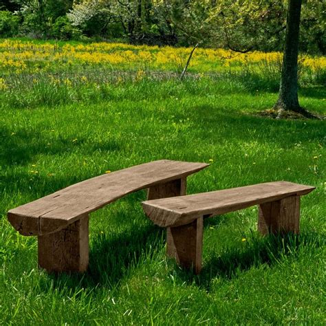 Backless Rustic Wooden Benches Outdoor