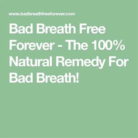 [click]bad Breath Free Forever - The 100 Natural Remedy For Bad .