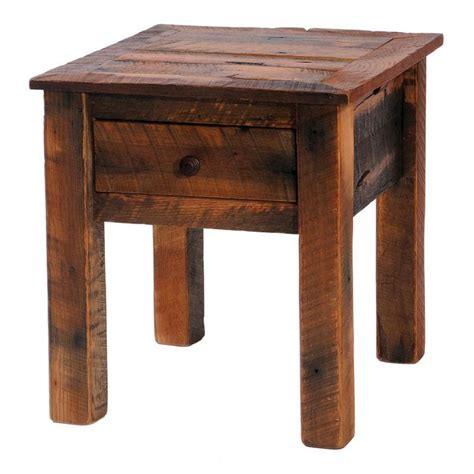 Barnwood End Table With Storage By Fireside Lodge .