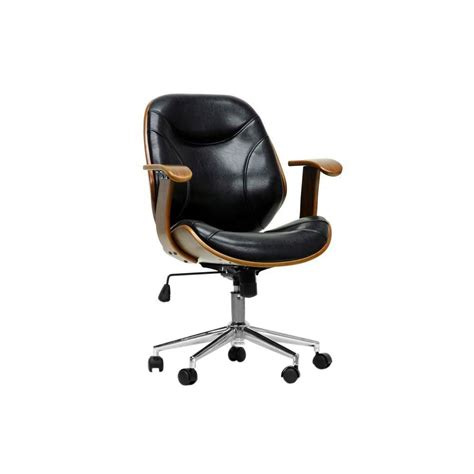 Baxton Studio Bruce Black Faux Leather Office Chair-28862 .