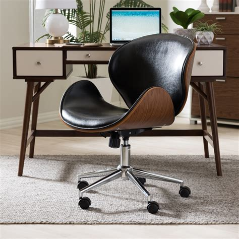 Baxton Studio Bruce Faux Leather Office Chair White.