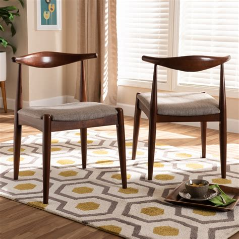 Baxton Studio Iconic Retro Dining Chair In Gray And Walnut .