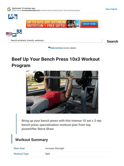 [click]beef Up Your Bench Press 10x3 Workout Program  Muscle .