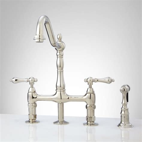 Bellevue Bridge Kitchen Faucet With Brass Sprayer - Lever .