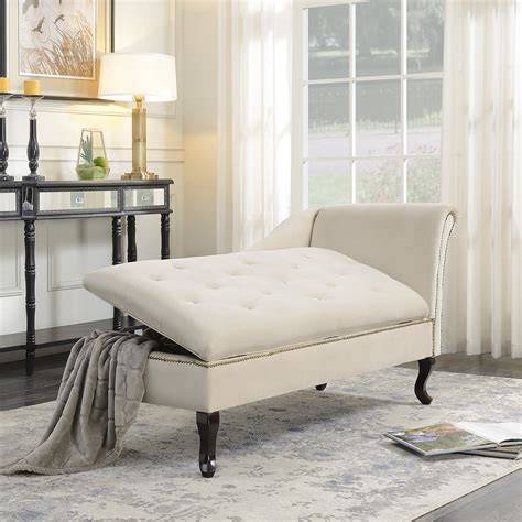 Belleze Nailhead Trim Velveteen Storage Chaise Lounge .