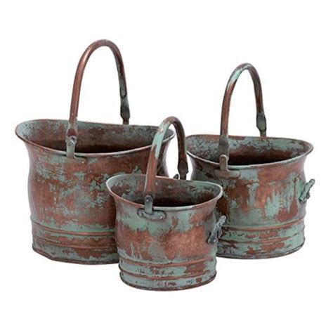 Benzara Green Tinged Metal Bucket Planter With Handles .