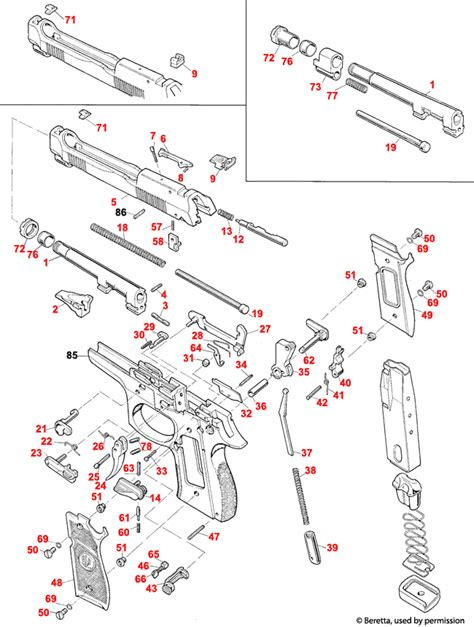 Beretta  92 96 Stock Combat Schematic - Brownells Uk.