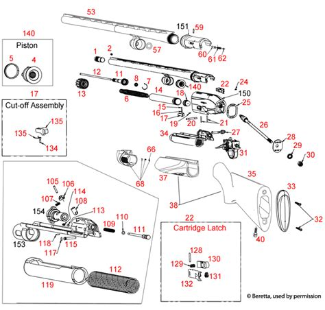 Beretta  A400 28ga Schematic - Brownells Uk.