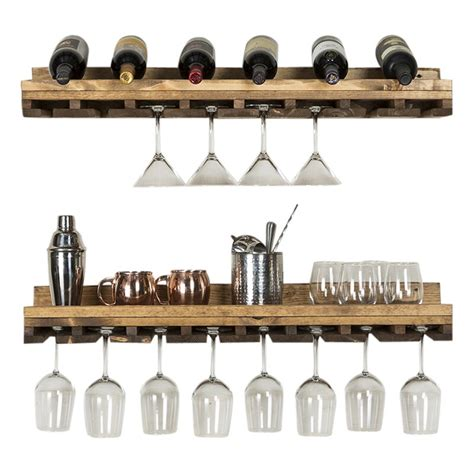 Bernardo Rustic Luxe Tiered Wall Mounted Wine Glass Rack .