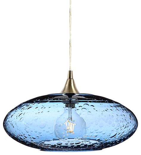 Bicycle Glass Co Lunar Pendant Light No 952 Steel Blue .