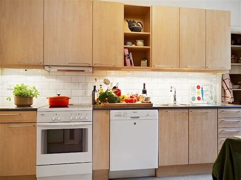Birch Kitchen Cabinets With White Appliances