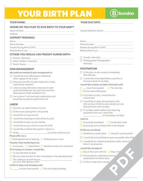 Galerry the bump printable birth plan