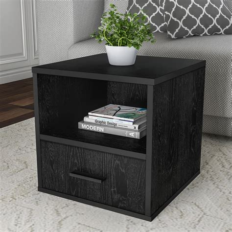 Black Side Table With Shelf