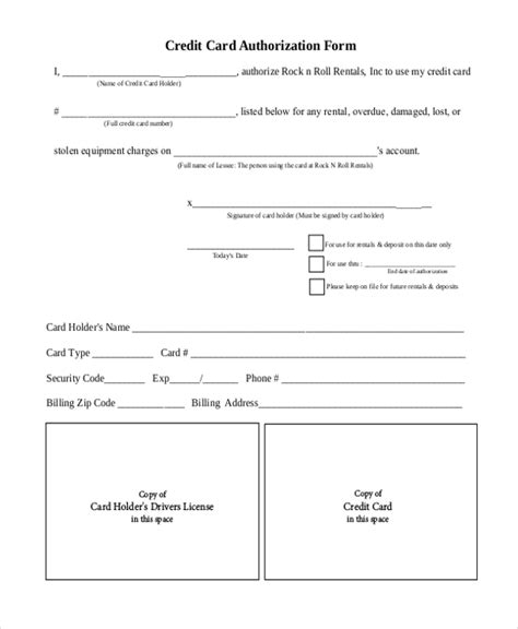 Blank Credit Card Authorization Form Pdf