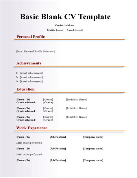 blank resume formats free download