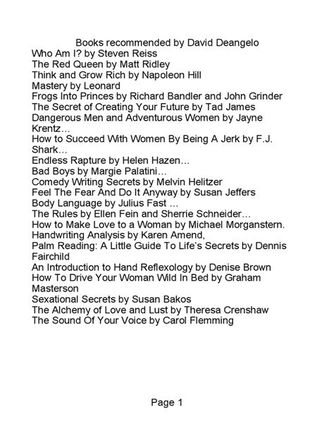 Books Recommended By David Deangelo Scribd Pdf.