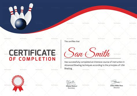 bowling certificate templates free