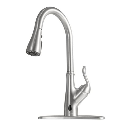 Brushed Nickel Kitchen Sink Faucet With Pull Down Sprayer.