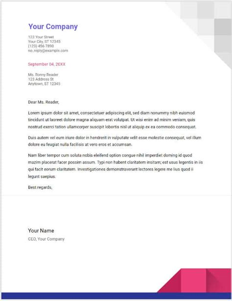 business letter template for google docs