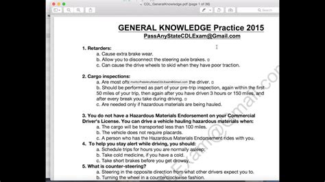 Cdl Test Answers - Driver License Test Questions And Answers.